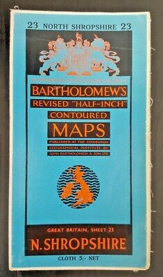 "Bartholomew's Cloth ""Half-Inch"" Contoured Map. Sheet Number 23 NORTH SHROPSHIRE"