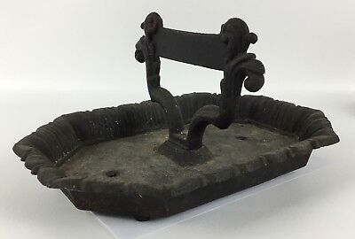 Antique Large Cast Iron Boot Scraper With Mud Tray Bowl - Architectural