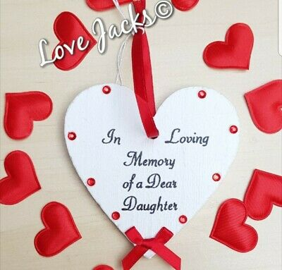 In Loving Memory of a Dear Daughter wooden memory heart, memory tree, gift