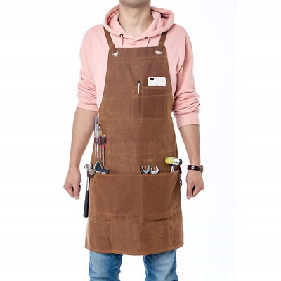 Waxed Canvas Work Apron, Unisex Heavy Duty Carpenters Apron, Waterproof Tool for