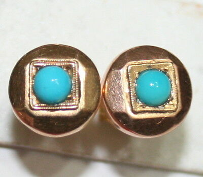 ANTIQUE FRENCH VICTORIAN 18K GOLD TURQUOISE FINE HAND MADE STUD EARRINGS c1900