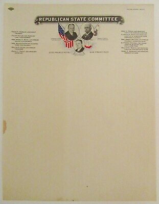 1928 CALIFORNIA REPUBLICAN STATE COMMITTEE Campaign Letterhead, HOOVER, JOHNSON