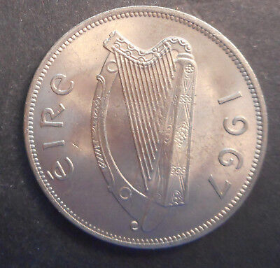 Ireland 1967 Horse Half Crown   UNC   Nice