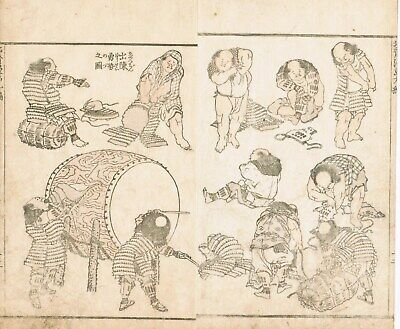 "HOKUSAI  an original Japanese Manga woodblock ""Eleven Boy Samurai Getting Ready"""