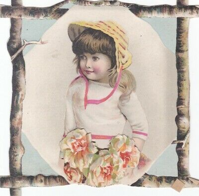 1800s ANTIQUE GIRL WITH PINK RIBBON - HAT -  IN DIE CUT TWIG FRAME.*