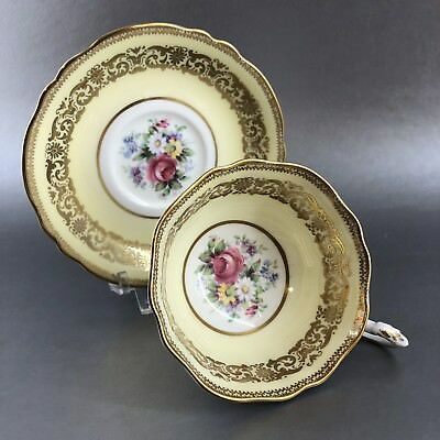 Paragon Mint Yellow & Gold Floral Bone China TeaCup & Saucer England Vintage