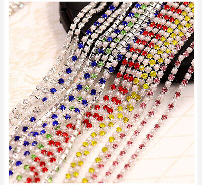 1Yard 1Row Rhinestone Pearl Cup Chain Metal Base with Claw Dress Decoration Trim