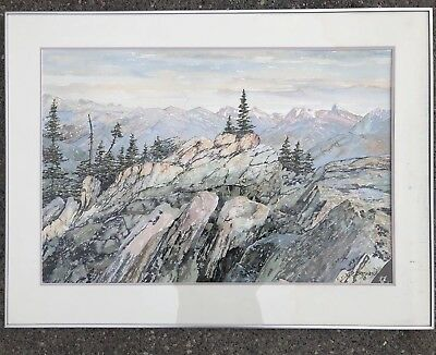 Original Watercolor Peter Bresnen Nova Scotia Landscape Art Mountain Painting