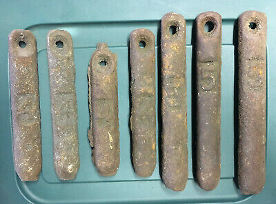 Vintage Lot Of 7 Antique Cast Iron Window Sash Weights 4 Lb & 5 Lb L@@K! Fishing