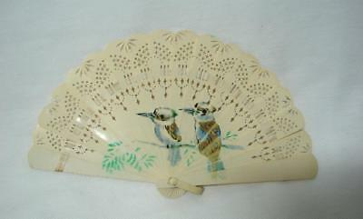 Rare Art Deco Australian Hand painted Kookaburra Celluloid Ladies fan