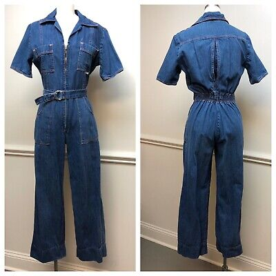 Vintage 1970s Denim Jumpsuit March? Blue Jean 70s Belted Coverall Romper Small