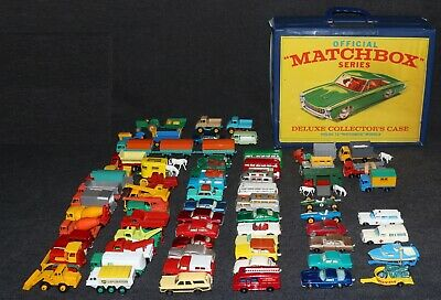 Matchbox 1960's Die-Cast Group Lot of 68 with 72 Car Case Nice High Grade