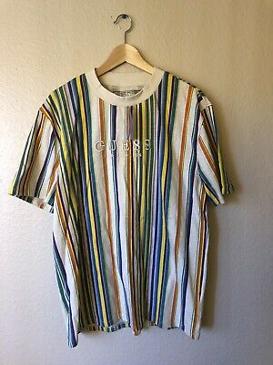 c0af784062 NEW NWT Guess Los Angeles Multi Color Vertical Striped T Shirt - Size  Medium M