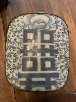 VTG Chinese Silver Plate on Copper Rectangle Trinket Box w/Blue Tile Ceramic Top