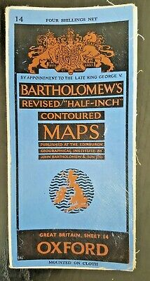 "Bartholomew's Mounted on Cloth ""Half-Inch"" Contoured Map. Sheet Number 14 OXFORD"