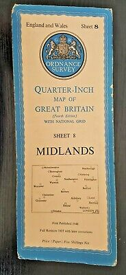 "Ordnance Survey ""Quarter-Inch"" Map. 4th Edition Sheet No. 8 MIDLANDS"