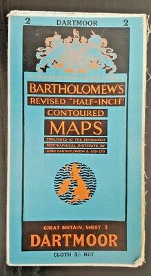 "Bartholomew's Cloth ""Half-Inch"" Contoured Map. Sheet Number 2 DARTMOOR"