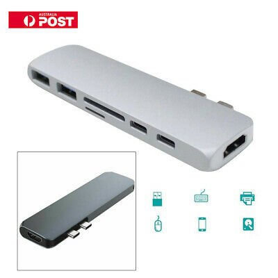 For MacBook Pro 7in1 USB-C Hub Dual Type-C Multiport Card Reader Adapter 4K HDMI
