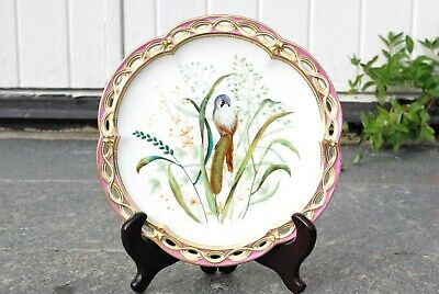 Stunning Antique Reticulated Bird Cabinet Porcelain Plate 18th / 19th century