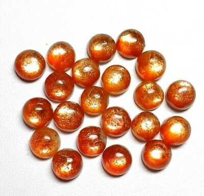 4X4 mm To 10X10 mm Natural Sunstone Round Cabochon Loose Gemstone Lot