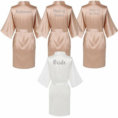 Champagne Satin Wedding Bridal Bride Robe Bridesmaid Maid of Honor Party Gown