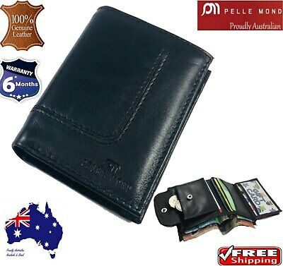 Men's Real Premium Slim High Cow Leather Bifold Credit Card Holder Wallet Box