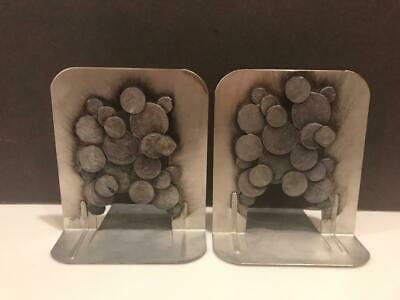 UNIQUE Pair of Vintage Bookends / Silver Metal with Old Coin Feature / HEAVY