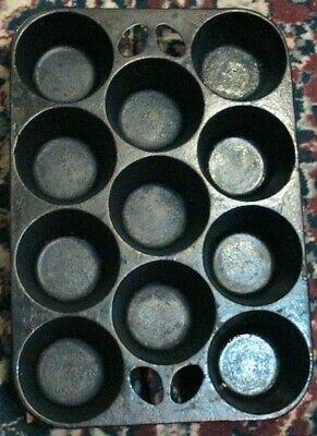 Vintage Cast Iron Made In Usa 11 Cup Muffin Popover Baking Pan Mold Free Ship