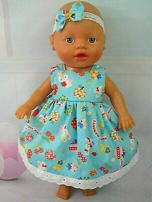 Dolls clothes~33cm Baby Alive 32cm Little Baby Born Doll BLUE~RABBIT/BEAR DRESS