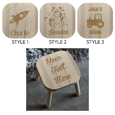 Personalised Wooden Childrens Stool Laser Engraved Unique Quality Birthday Gift