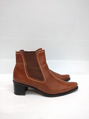 Size 6 or 6.5 Vintage Ladies Chelsea Brown Tan GABOR Leather ankle boots