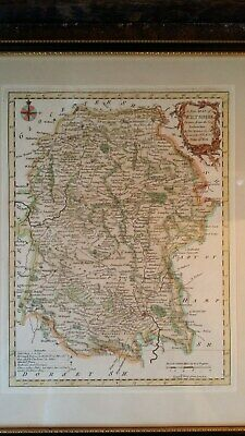 1770 Original Antique Map Of Wiltshire - Thomas Kitchin - Hand Coloured & Framed