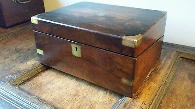 Antique Georgian / Victorian Writing Slope Box - Brass Banded - Mahogany Wood