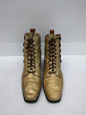 Size 40 AGNESE Roma Gold Vintage Ladies lace up leather ankle boots
