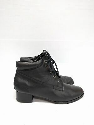 Size 39 Vintage Ladies Black Grunge Rock Granny lace up leather ankle boots