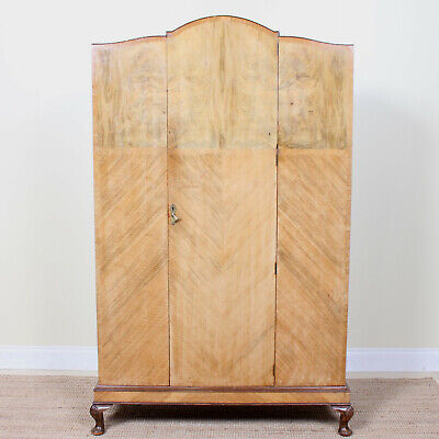 Vintage Art Deco Wardrobe Marquetry Light Walnut Armoire
