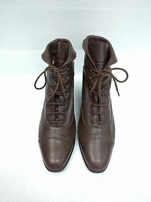 Size 8 Vintage Ladies Brown Granny Rock Grunge lace up soft leather ankle boots