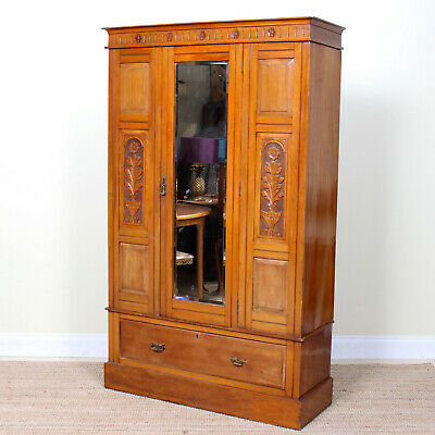 Antique Victorian Wardrobe Carved Walnut Satinwood Mirrored Armoire Art Nouveau