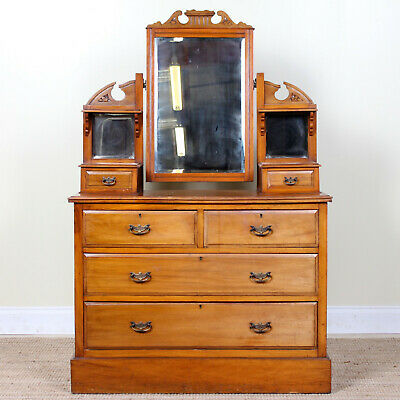 Antique Victorian Dressing Table Chest of Drawers Satinwood Walnut Mirrored