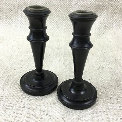 Pair of Victorian Candlesticks Wooden EBONY Wood Turned Candle Holders