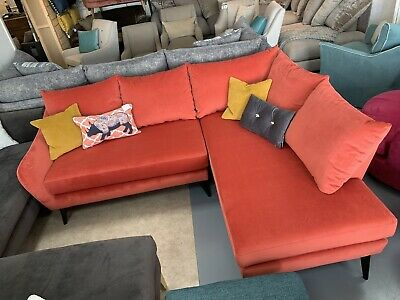 Designer Right Hand Facing Corner Sofa In Peach Orange Velvet Fabric RRP £1499