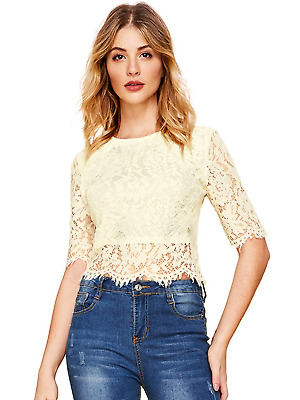 fc760bc98 MAKEMECHIC Women's Long Sleeve Sexy Sheer Blouse Mesh Lace Crop Top Beige XS