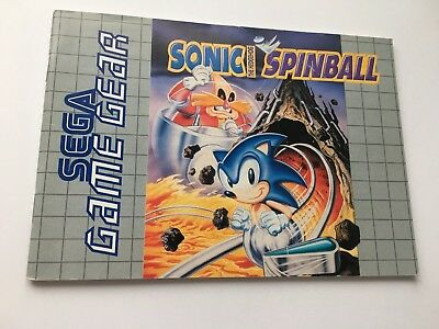 Sonic The Hedgehog Spinball Instructions Booklet Manual Sega Game Gear