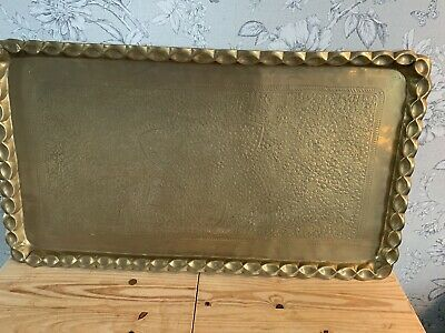 BEAUTIFUL FINE LARGE ANTIQUE PERSIAN QAJAR ISLAMIC HAND CHASED BRASS TRAY Large