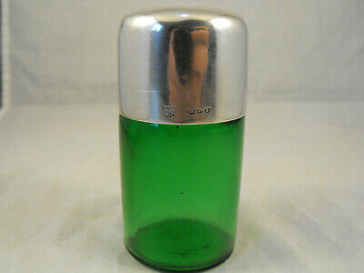 Green scent bottle with silver top, Chester 1900,  W J Myatt & Co
