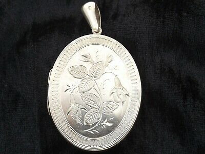 Antique Victorian Sterling Silver large oval opening photo locket pendant  1881