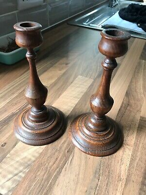 Vintage Old Wooden Ware Treen Pair Candle Sticks
