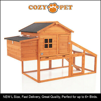 Chicken Coop Cozy Pet New Large Hen House Poultry Ark Rabbit Hutch Run CC01L-N
