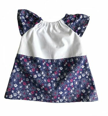 Newborn baby dress, floral design in blue/white-0-3 mths One Only Available-BD08