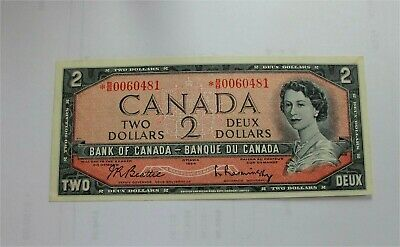 1954 Canada $2 Dollars Replacement Note  BC-38bA UNC B/B 0060481
